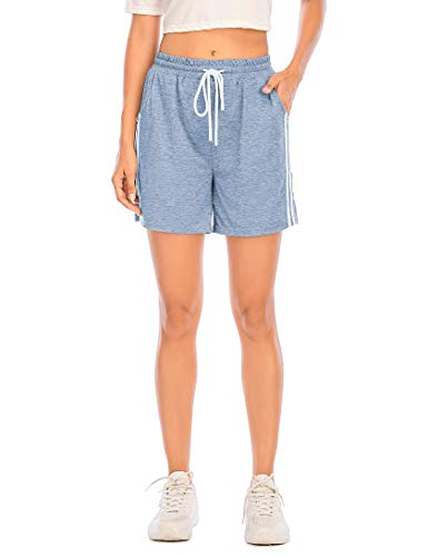 Enjoyoself Damen Kurze Sporthose Stretch Sommer Sweatshorts mit Gummibund Chic Hose zum Yoga,Laufen,Zumba,Tranning,Hellblau,M
