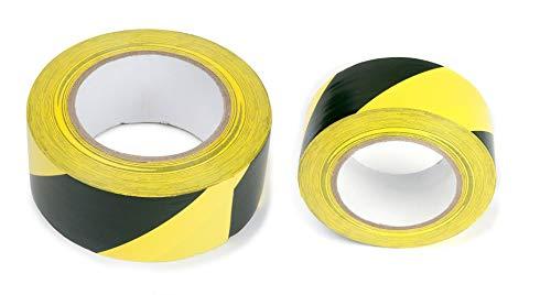 Cinta adhesiva de PVC para señalización de peligro, a rayas, para señalización de suelo y seguridad, color negro y amarillo, 50 mm x 50 m