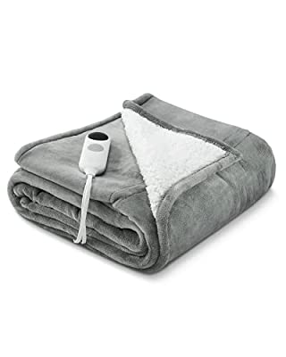 """Electric Blanket Heated Throw Flannel & Sherpa Reversible Fast Heating Blanket 50"""" x 60"""", ETL Certification with 6 Heating Levels & 8 Hours Auto Off, Home Office Use & Machine Washable from N\B"""