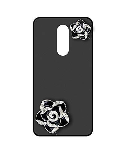 Sunrive Kompatibel mit Leagoo S8 Pro Hülle Silikon,Glitzer Diamant Strass Handyhülle matt Schutzhülle Etui 3D Hülle Backcover (Schwarze Blume) MEHRWEG+Gratis Universal Eingabestift