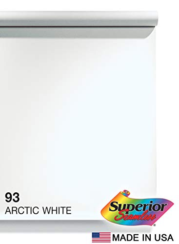 Superior Seamless Photography Background Paper, 93 Arctic White (107 inches Wide x 36 feet Long)