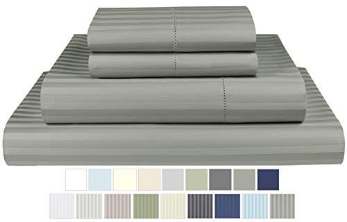 Threadmill Home Linen 600 Thread Count 100% ELS Cotton Sheets 1cm Damask Stripe 4 Piece Bedsheet Set Fits Mattresses up to 18' deep Pocket Hem Stitch Luxury Bedding Smooth Sateen Full Size Moon Rock
