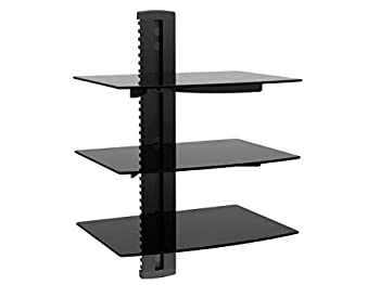 Monoprice 3 Tier Electronic Component Glass Shelf Wall Mount Bracket with Cable Management System Black  110480