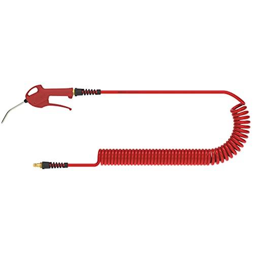 Lüdecke Druckluftschlauch PUR 65106 APK Manguera en espiral con boquilla y pistola de soplado, Rojo, 6 Meter