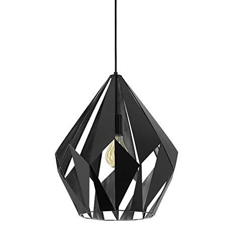 EGLO Suspension Carlton 1 - 1 ampoule - Vintage - Rétro - En acier - Couleur : noir - Argenté - Culot : E27 - Diamètre : 38,5 cm