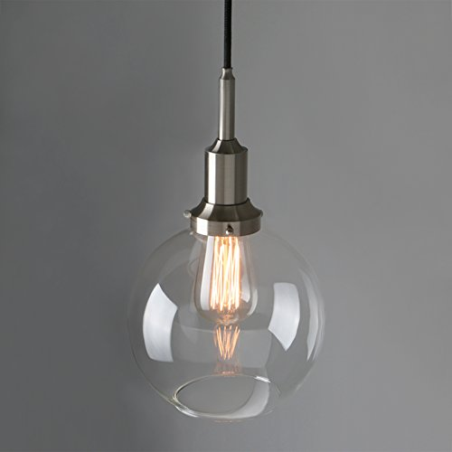 Phansthy 1-Light Industrial Glass Pendant Light Vintage Ceiling Light, 7.9 Inch Globe Clear Glass Lampshade