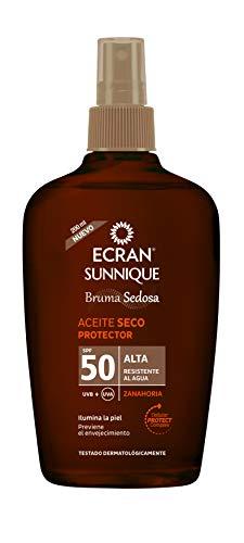Ecran Sunnique Broncea+, Aceite Protector Solar Seco con SPF50 - 200 ml
