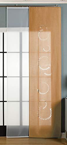 Gardinenbox 2er-Pack Schiebegardine Flächenvorhang Avila Lasercut Wildseide Optik Voile, Sand, 245x60 cm (HxB) inkl. Paneelwagen und Beschwerungsstangen, 165610
