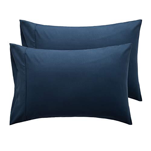 Bedsure Federe Cuscino Letto Matrimoniale - Federe Cuscino Blu Navy 50x80 cm con Chiusa, Set di 2 Pezzi con Chiusura a Busta, Federe in Microfibra