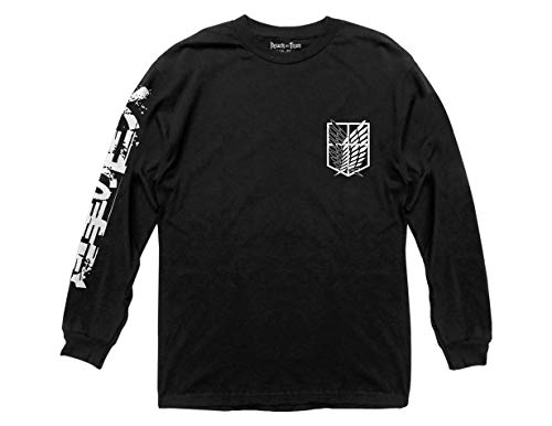 Ripple Junction Attack on Titan B&W Scout Regiment Adult Long Sleeve Tee Shirt Large Black