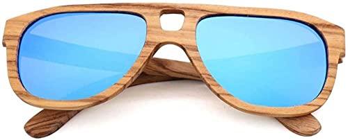 Gafas de sol vintage de madera de bambú fresco y elegante gafas de sol piloto con lente polarizada para conducir