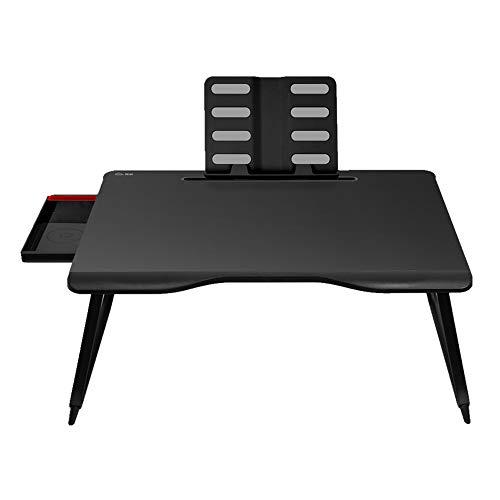 Tyueliang-Home Laptop Stand Escritorio portátil Estudio Mesa de Desayuno Bandeja de la porción Plegable Cafetera for la casa u Oficina Escritorio de computadora (Color : Black, Size : 65x49cm)