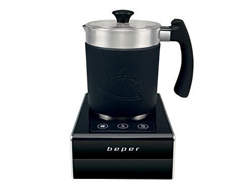 Beper BB.200 - Schiumalatte automatico magnetico, 650 W, Nero/Argento