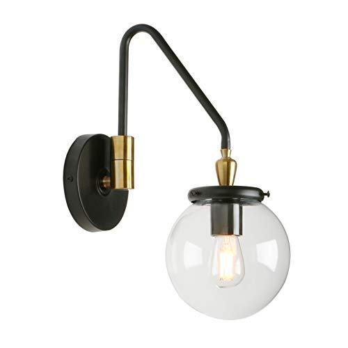 Phansthy runde klarglas Wandbeleuchtung Wandleuchten Vintage Industrie Loft-Wandlampen Antik Deko Design Drehbare gebogene Stange Wandbeleuchtung Küchenwandleuchte im Landhausstil (Schwarz Farbe)