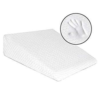 Milliard Bed Wedge Pillow with Memory Foam Top -Helps with Acid Reflux and Gerds Reduce Neck and Back Pain Snoring and Respiratory Problems- Breathable and Washable Cover  7.5 Inch   White
