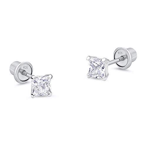 925 Sterling Silver Rhodium Plated 3mm Princess Cut Cubic Zirconia Stud Screwback Baby Girls Earrings