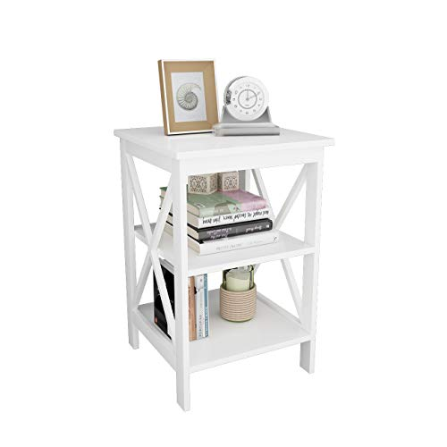 soges Nightstand Bedside Table End Table Coffee Table Side Table Sofa Table with 3-Tier Shelf White CYS-ST002-WT