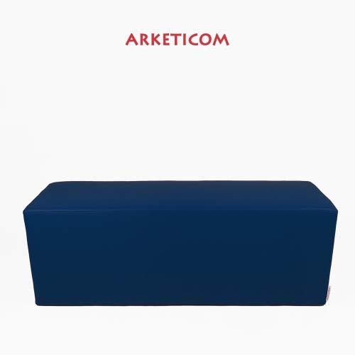 Arketicom Horizon Pouf Long ou Banquette Repose-Pieds en Faux Cuir et Polyurethane Mousse Dur HD Haute densite (PUF Puff pouffe Seance) Mesure 42H x 42L x 84L cm Couleur Bleu Fonce