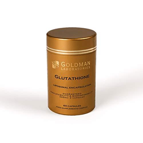 Glutathion liposomal, Goldman Laboratories - Biodisponibilité maximale 2 Gélules 300 mg - Gélule antioxydante de glutathion - radicaux libres - 100% végétalien et végétarien - Libération lente