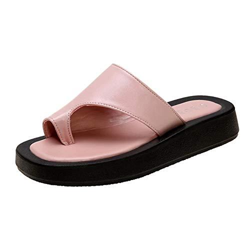 ZYMQ Zapatillas Casual Verano Zapatos para Mujer Diapositivas Shale Playa Playa Goma Flip Flaops de Lujo Flat Soft Hawaiian,Rosado,44