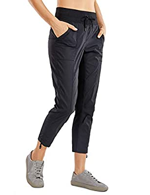 CRZ YOGA Women's Studio Capri Joggers Drawstring Lounge Pants Striped Athletic Travel Hiking Pants Elastic Waist Black Medium