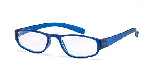Extrem leichte Filtral Lesebrille in der Trendfarbe Blau/Moderne eckige Lesehilfe für Damen & Herren / +1,50 dpt F4522103
