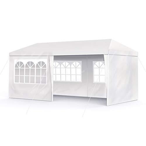 BOUDECH Tenda/Gazebo per Feste Impermeabile Bianco Tendone per Fiere,Feste e Mercati. Disponibile in Due Misure 3x6 e 3x9 (3x6 M)