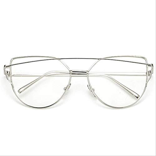 8bayfa Zonnebril Designer Zonnebril Kat Oog Reflecterende Bril Vintage Metalen Bril Voor Vrouwen Retro Zonnebril Zilver-T