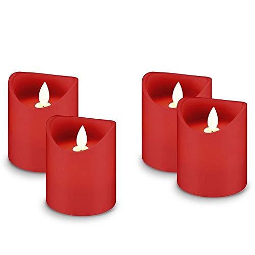 AccuCell Echtwachs LED Kerzen 4er Set I Adventsdeko Kerzen batteriebetrieben I LED Stumpenkerzen mit Timer I LED Kerzen flackernde Flamme rot I Party LED Kerzen Timerfunktion 10cm hoch ø 7,5 cm