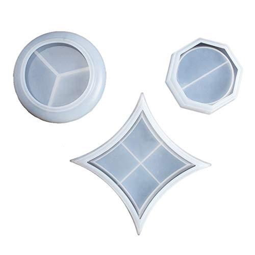 Kuinayouyi - Molde plano para repostería (3 piezas, cristales, resina), diseño de...