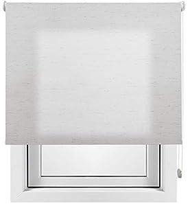 Estor Enrollable Lino Premium Metal (Desde 40 hasta 260cm de Ancho) translúcido (Permite Paso de luz/no Permite Ver el Exterior). Color Lino Gris. Medida 180cm x 180cm para Ventanas y Puertas.