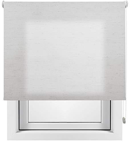 Estor Enrollable Lino Premium Metal (Desde 40 hasta 260cm de Ancho) translúcido (Permite Paso de luz/no Permite Ver el Exterior). Color Lino Gris. Medida 200cm x 200cm para Ventanas y Puertas.