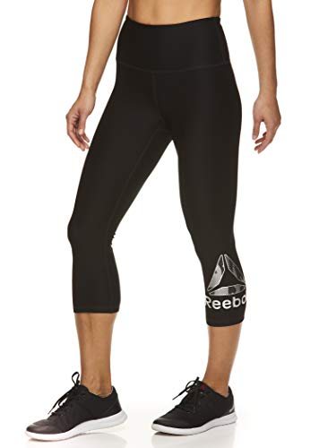 Reebok Women's High Waisted Capri Workout Leggings - Cropped Performance Compression Gym Tights - Light High Rise Black, Small