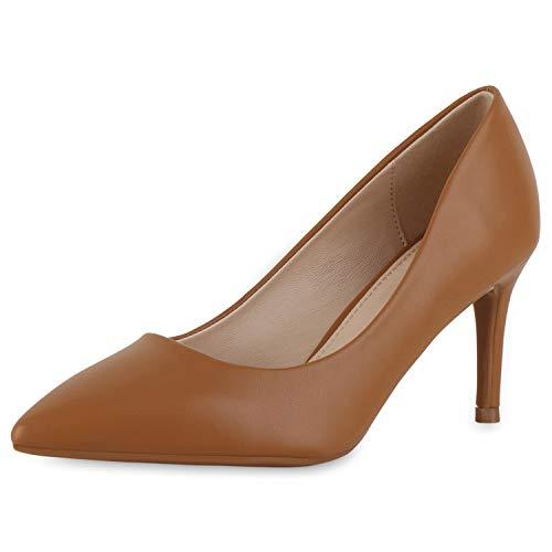 SCARPE VITA Damen Spitze Pumps Stiletto Mid Heels Klassische Business Schuhe Leder-Optik Office Absatzschuhe Elegante Abendschuhe 189655 Hellbraun 38