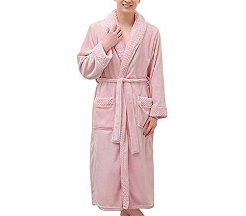 Acogedor Señoras de los hombres de lujo caliente franela extra largas de baño atractivo del invierno de malla Piel Caliente albornoces kimono pijamas dama de Robe para Shower Spa Hotel Robe Holiday