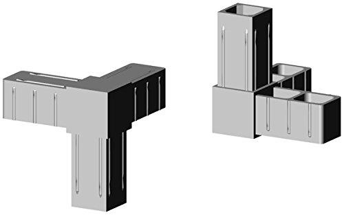 Winkel mit Abgang - Eckverbinder Kunststoff grau ähnl. RAL7035 - Glasfaserverstärkt - für 20x20x1,5mm Aluminiumprofil Steckverbinder für Aluminiumprofile