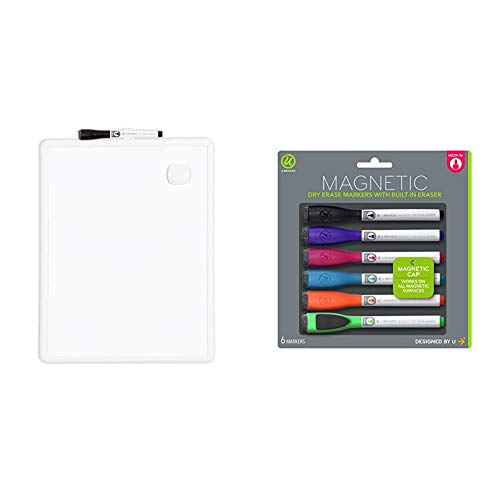 U Brands Contempo Magnetic Dry Erase Board, 11 x 14 Inches, White Frame & Brands Low Odor Magnetic Dry Erase Markers with Erasers, Medium Point, Assorted Colors, 6-Count - 520U06-24