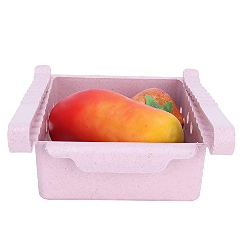 Contenedores organizadores para refrigerador, caja de almacenamiento para refrigerador, tipo cajón resistente a bajas temperaturas con manija frontal para encimeras,(Pink)