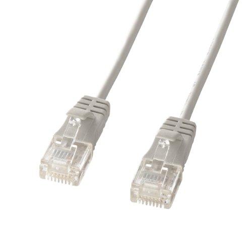 サンワサプライ CAT6準拠LANケーブル 直径3.2mm極細タイプ (15m) 1Gbps/250MHz RJ45 ツメ折れ防止 ライトグレー KB-SL6-15