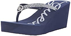 Navy Blue Sechi Wedge Sandal