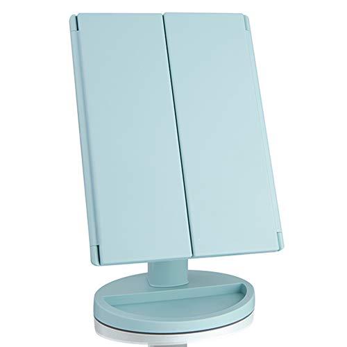 Espejo De Maquillaje con Luces, Aumento De 2X / 3X, Espejo con Luz LED De 36 con Pantalla Táctil, Rotación Ajustable De 180 °, Fuente De Alimentación Dual, Espejo Triple Portátil,Verde