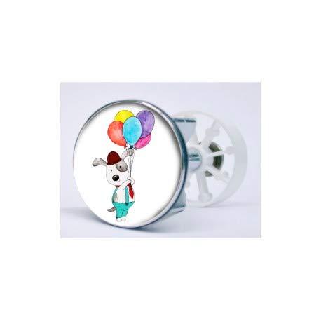 Bearn sticker hond en ballonnen, zelfklevend, voor wastafels, wastafel XXX-Small