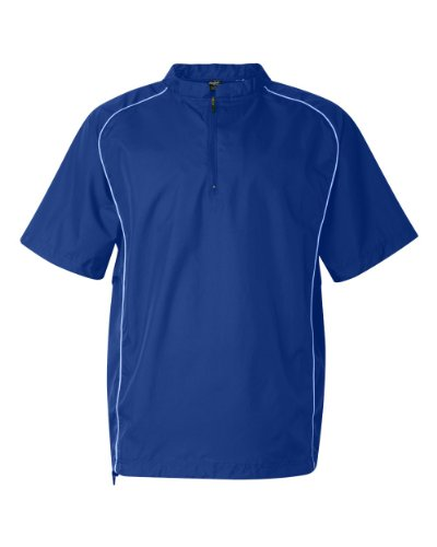 Rawlings Adult Quarter-Zip Short Sleeve Dobby Jacket With Piping (Royal) (L)
