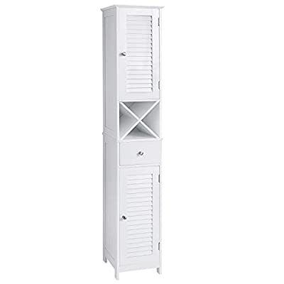 VASAGLE Bathroom Tall Cabinet, Freestanding Storage Cabinet with Shutter Doors, Drawer, and Removable X-Shaped Stand, 12.6 x 11.8 x 66.9 Inches, Scandinavian Style, White UBBC69WT