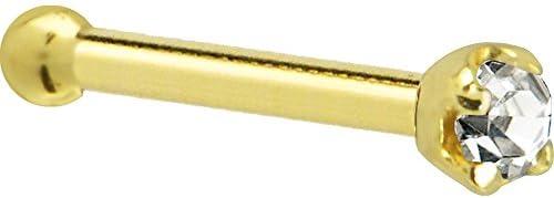 Solid 14k Yellow Gold 1 5mm 0 015 cttw Genuine Diamond Nose Stud Bone 20 Gauge 1 4 product image