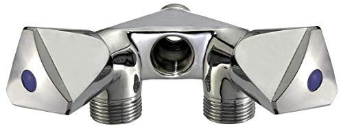 Cornat Maschinen-Doppelventil - 1/2 Zoll AG - Zum Anschluss von zwei Geräten - Extra Anschlussmöglichkeit in der Mitte - Mit Rückflussverhinderer - Aus Messing - Verchromt / Geräteventil / TEC304900