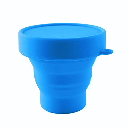 Collapsible Silicone Cup Foldable Sterilizing Cup for Menstrual Cups and Storing Your Diva Cup - Foldable for Travel from LUCKY CLOVER (Blue)