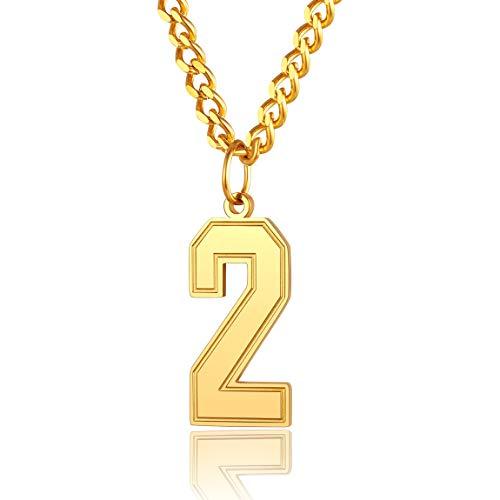 ChainsPro メンズ 0~9 ジャージー番号ネックレス 調節可能なチェーン 野球/バスケットボール/フットボールチームジュエリー 丈夫なクラスプ 316Lステンレススチール/金メッキ付き ギフトボックス付き