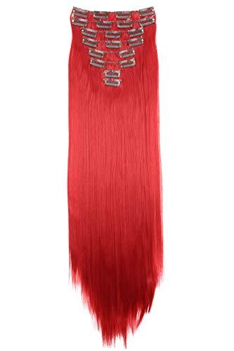 PRETTYSHOP XXL 8 pièces SET tête entière Clipser dans les extensions Extension de cheveux postiche résistant à la chaleur lisse 60 cm rouge profond # 3100 CES9