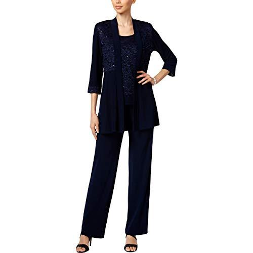 R&M Richards Women's Lace Pant Set, Navy, 8